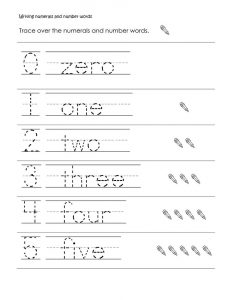 Preschool writing numbers 1 to 5 tracing 001