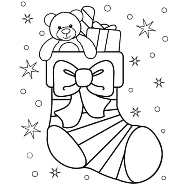 Presents In Christmas Stocking Coloring Pages