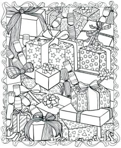 Presents winter coloring pages for adults