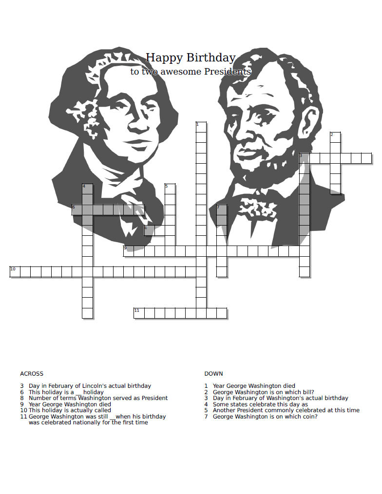Presidents Day Crossword Puzzle Worksheets