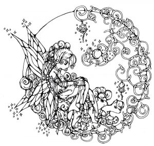 Pretty cartoon fairy coloring pages