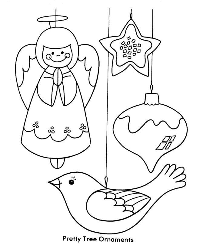 Pretty Christma Tree Ornaments Coloring Pages