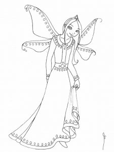 Pretty fairy coloring page printable