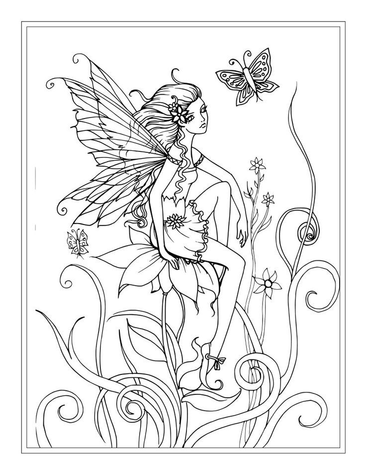 Pretty Fairy Coloring Pages For Adults