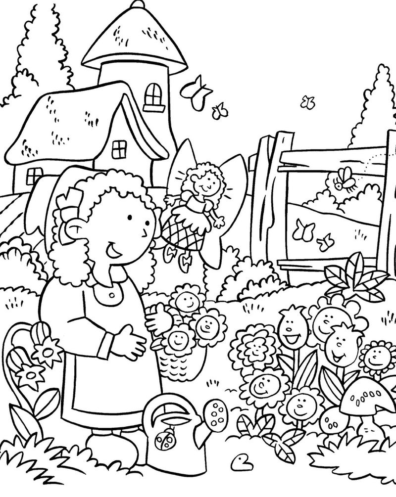 Pretty Gardening Coloring Pages 001