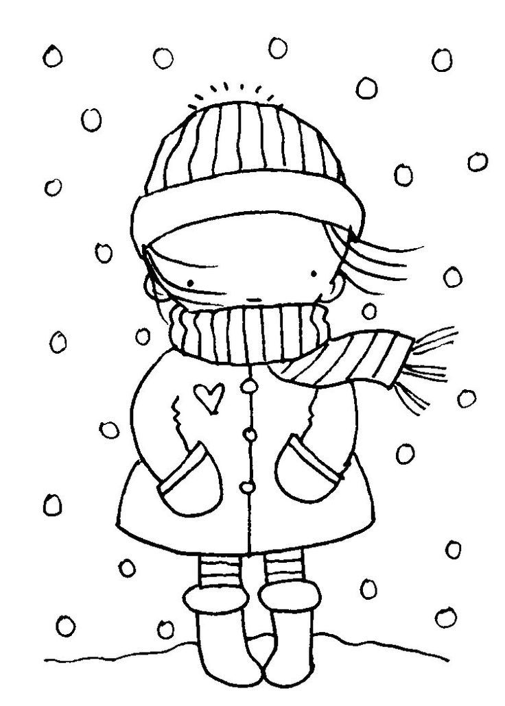 Pretty Girl January Winter Coloring Page