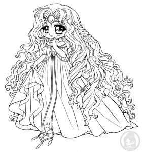 Pretty kawaii princess coloring page