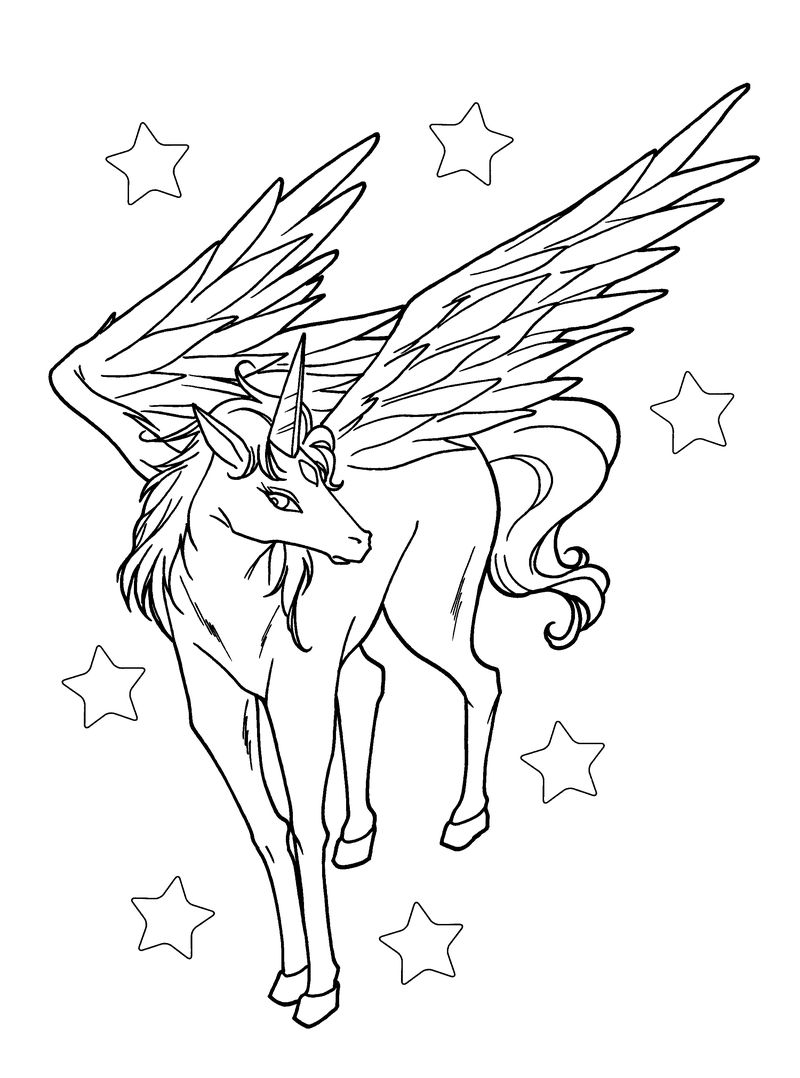 Pretty Unicorn With Wings In Stars Coloring Pages