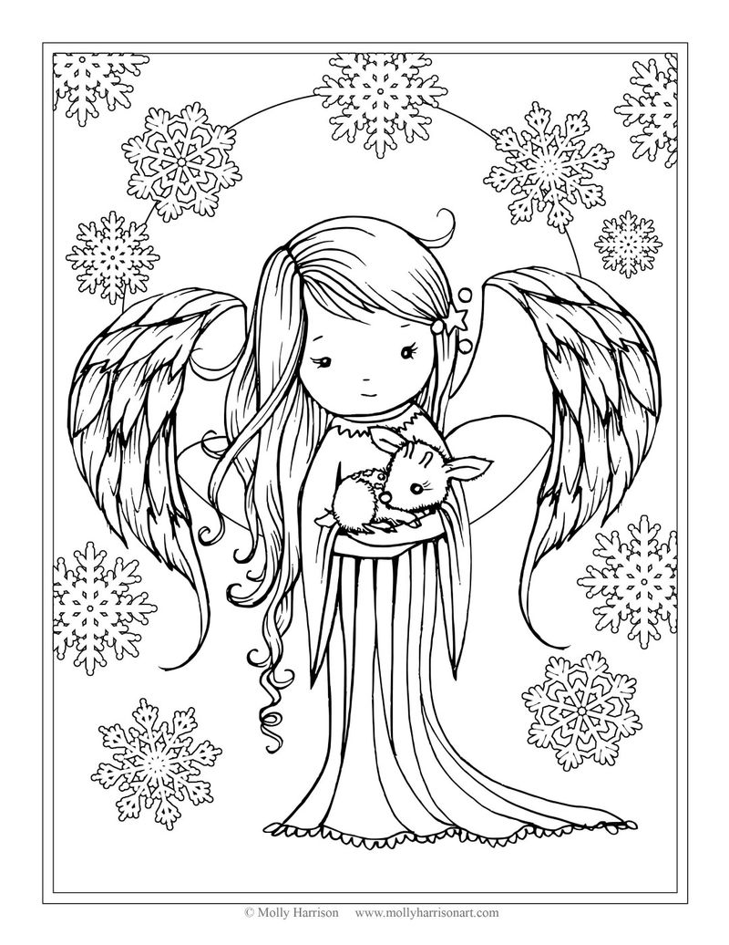 Pretty Winter Angel Coloring Page
