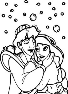 Prince aladdin and princess love coloring page
