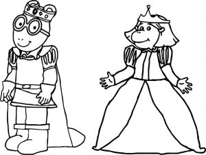 Prince arthur and princess francine arthur coloring page
