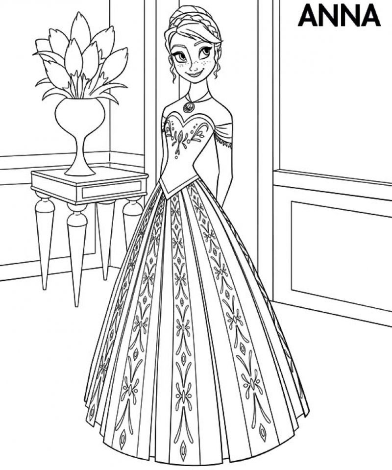 Princess Anna Frozen Coloring Page