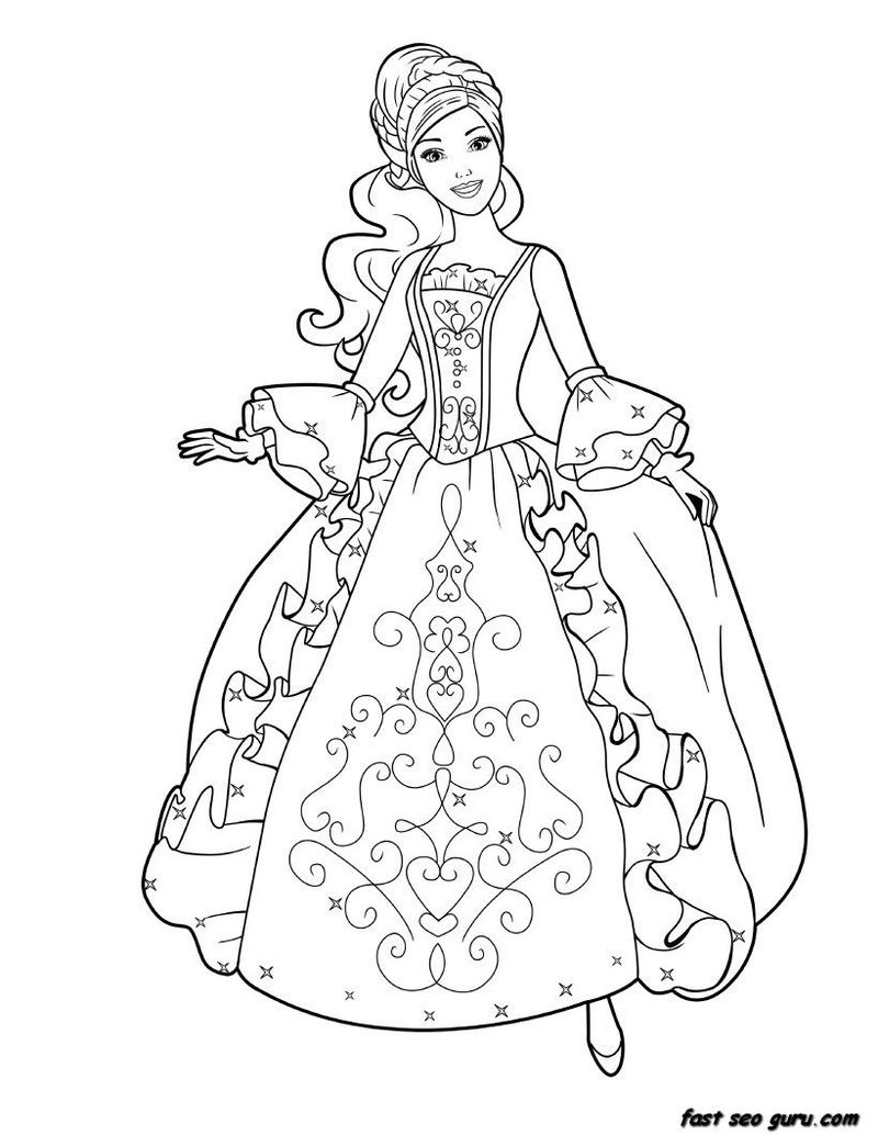 Princess Barbie In Gown Coloring Page