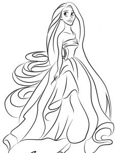 Princess coloring pages gown 001