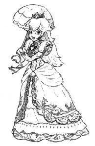 Princess peach coloring page 001