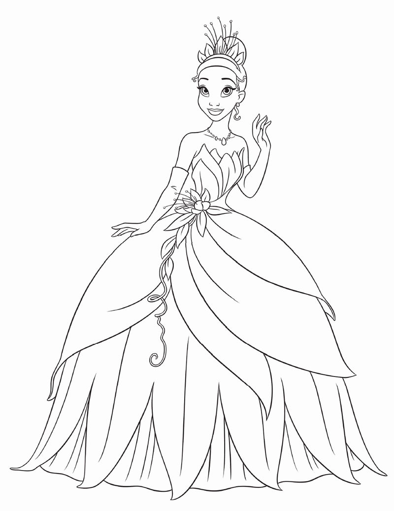 Princess Tiana Coloring Pages For Kids