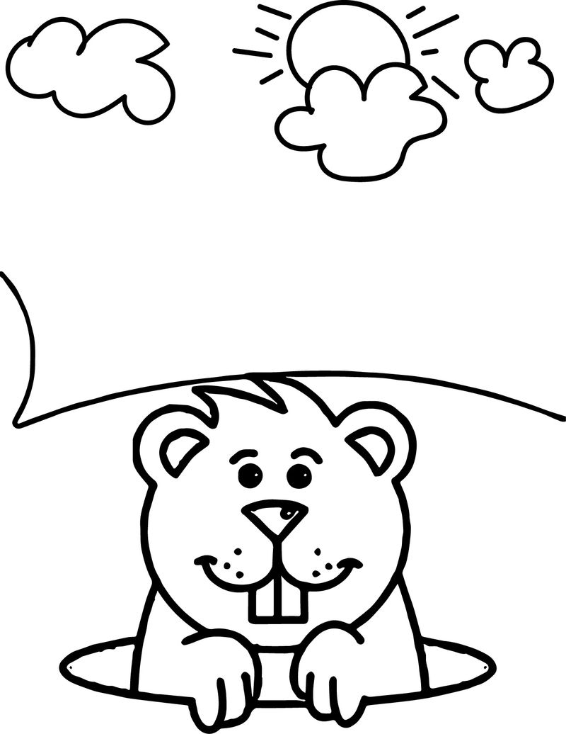 Print Free Groundhog Day Coloring Pages