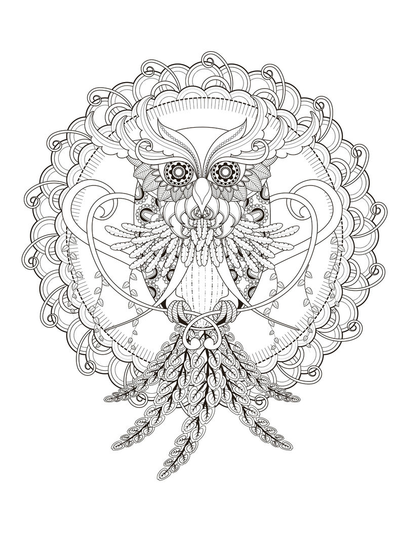 Print Free Owl Coloring Page For Adults