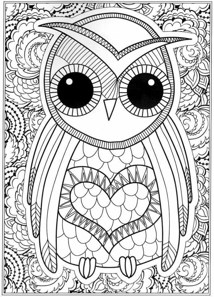 Print Free Owl Coloring Pages For Adults
