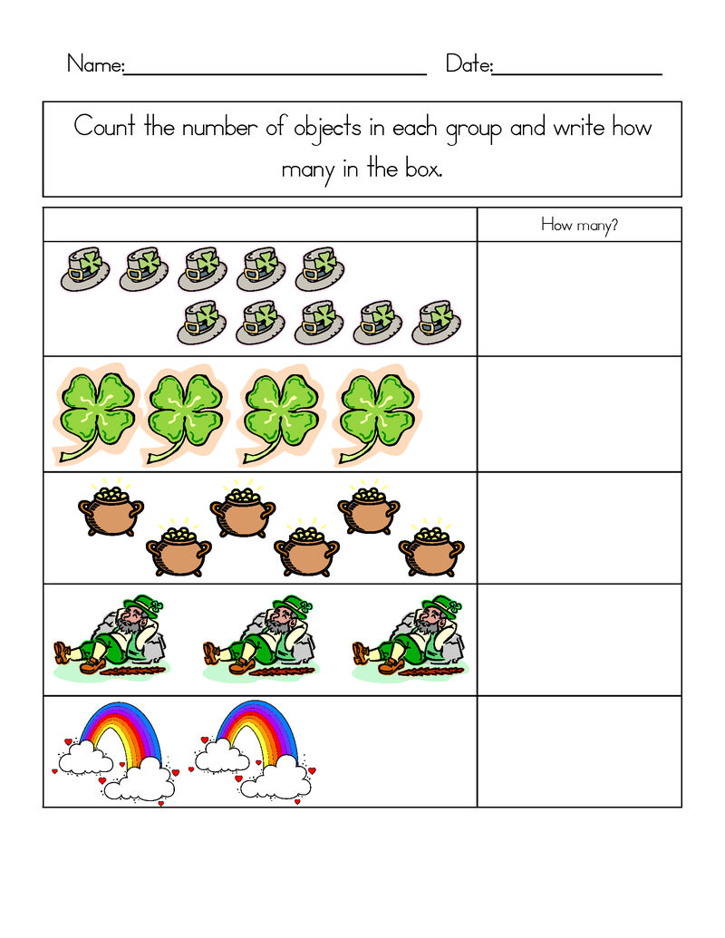 Print Free St Patricks Day Math Worksheets