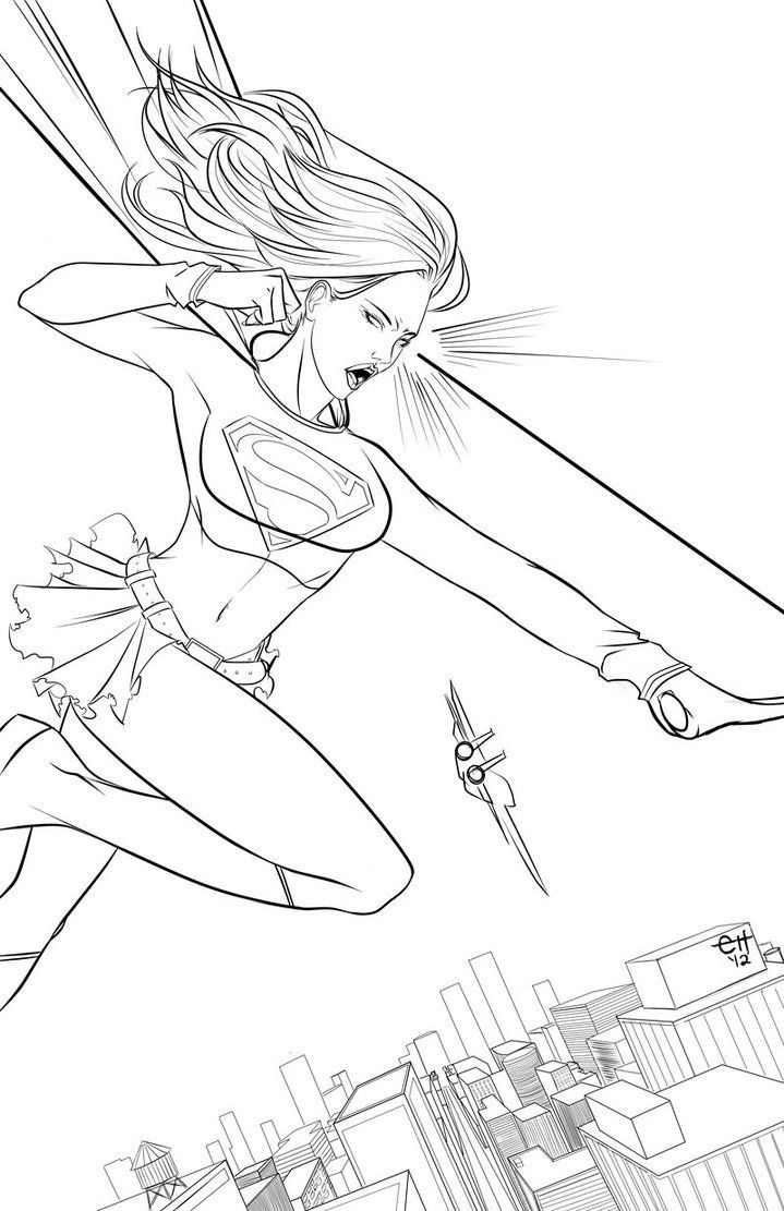 Print Free Supergirl Coloring Pages 001