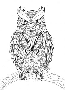Print owl coloring pages for adults