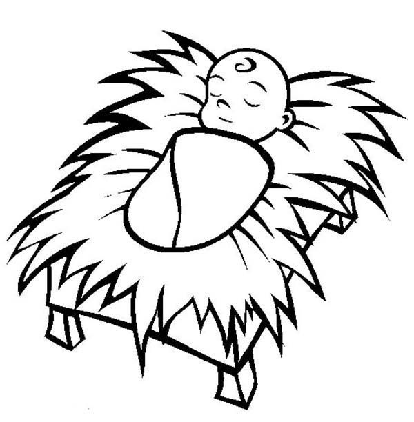 Printable Baby Jesus Coloring Page 001