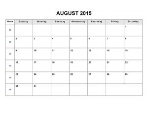 Printable blank monthly calendar 2015 august