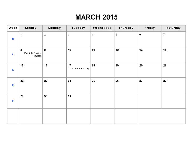 Printable Blank Monthly Calendar 2015 March