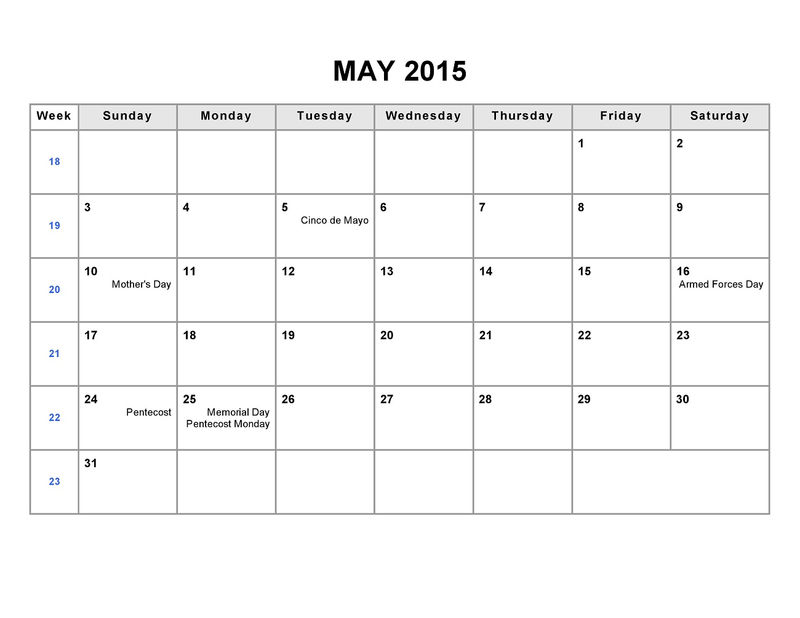 Printable Blank Monthly Calendar 2015 May