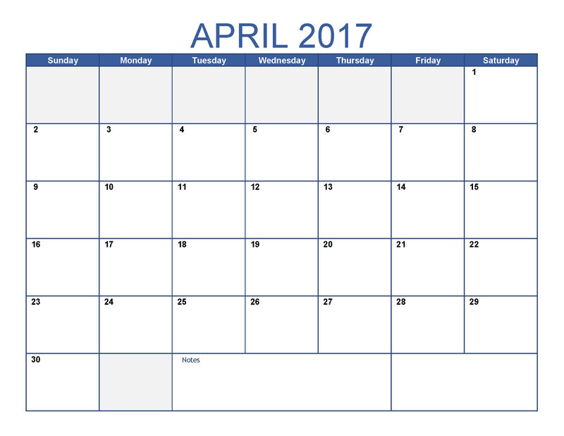 Printable Blank Monthly Calendar 2017