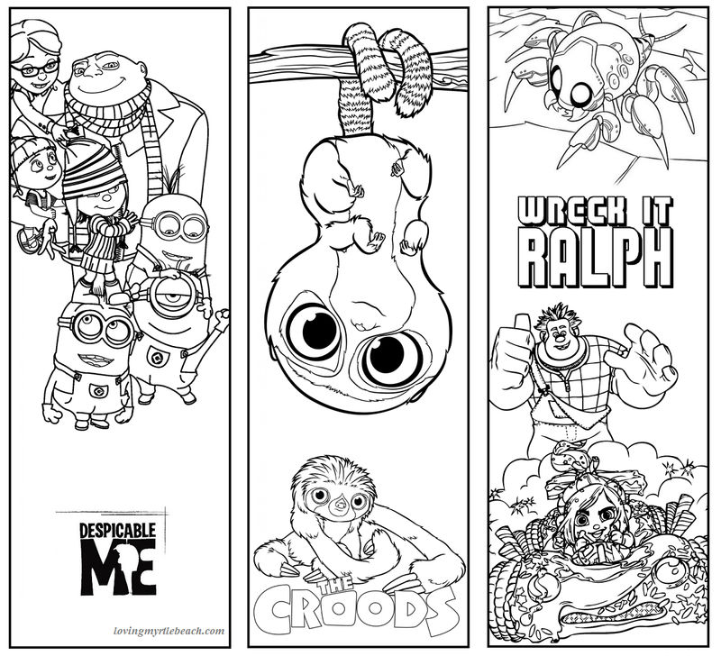 Printable Bookmarks To Color Cartoon