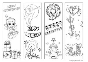 Printable bookmarks to color holidays