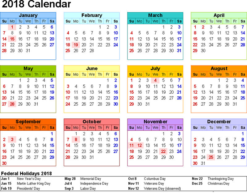 Printable Calendar Pages 2018 Colorful
