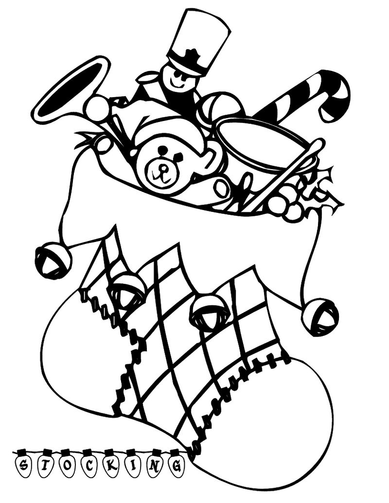 Printable Christmas Stocking Coloring Pages Coloring Sheets