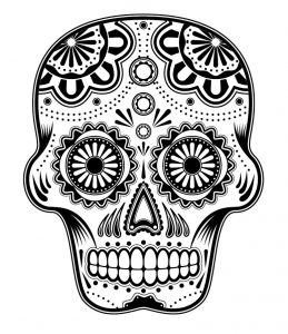 Printable day of the dead coloring art skulss 001
