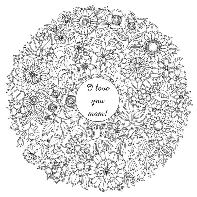 Printable Detailed Mothers Day Coloring Page