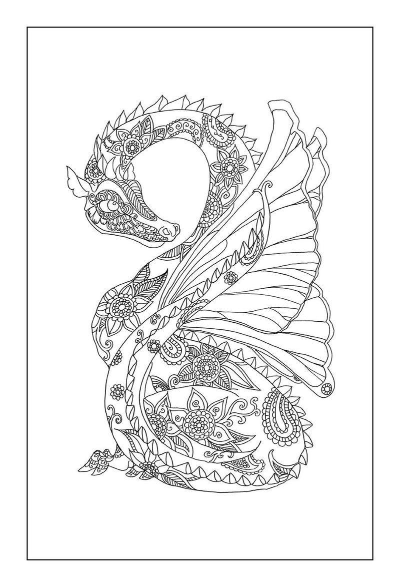 Printable Dragon Coloring Pages For Adults