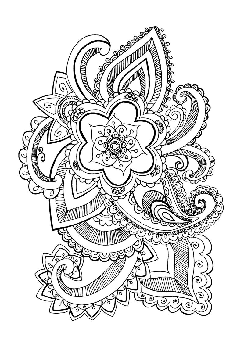 Printable Flower Mandala Coloring Pages 1