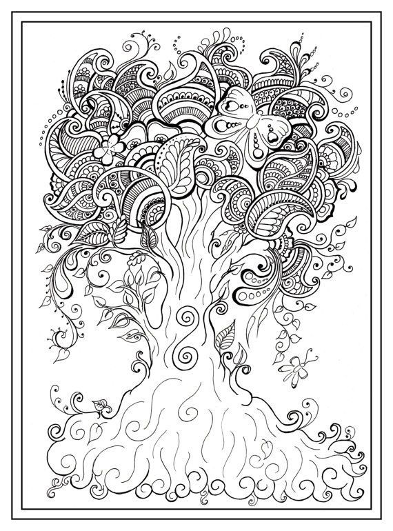 Printable Mindfulness Coloring Page Tree