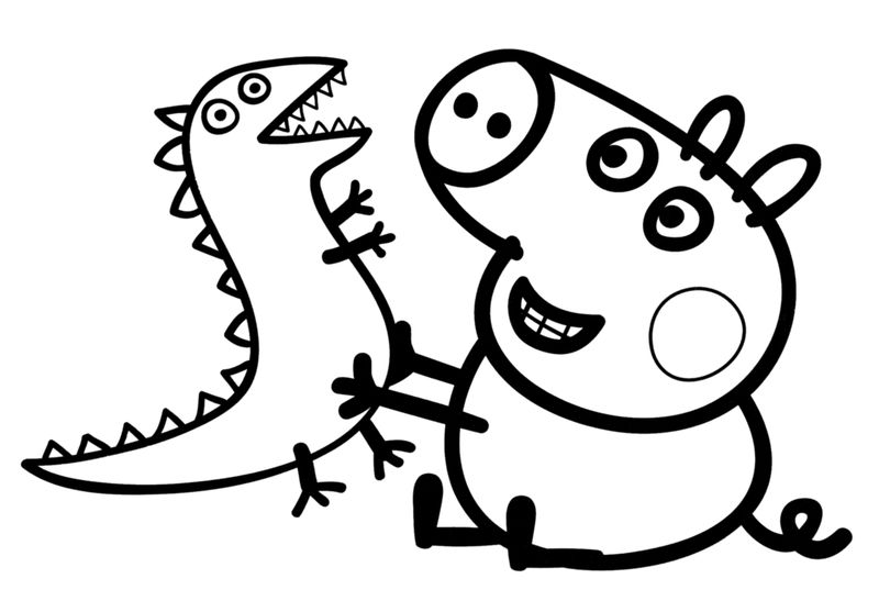Printable Peppa Pig And Dino Pictures To Color
