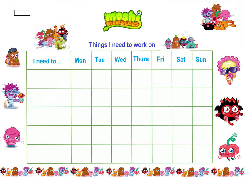 Printable Reward Chart With Stickers
