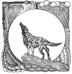 Printable wolf coloring pages for adults