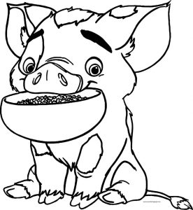 Pua pig food disney coloring page