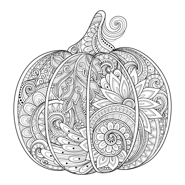 Pumpkin Fall Coloring Pages For Adults Advanced