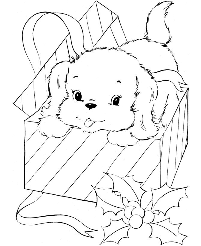 Puppy For Christmas Present Coloring Page
