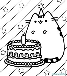 Pusheen birthday coloring pages