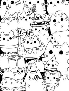 Pusheen coloring pages food
