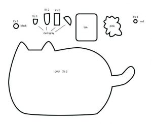 Pusheen cutout coloring activity