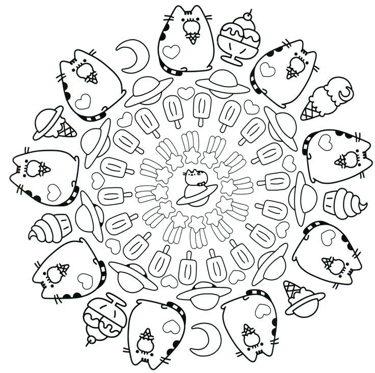 Pusheen Ice Cream Bar Mandala To Color